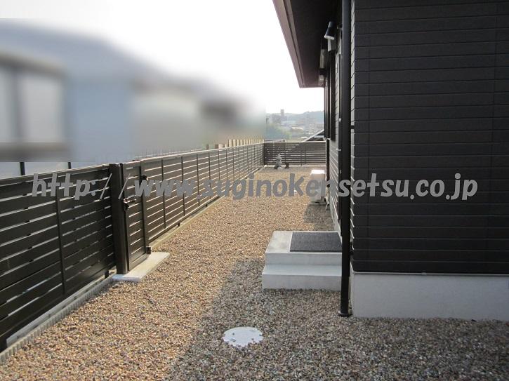 フェンス、片開き門扉