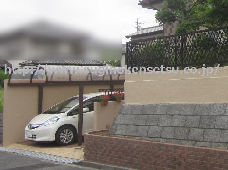 外構改修右斜め、駐車時