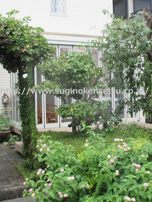 ガーデンルーム ジーマ 正面から お客様自作のガーデンとコラボ