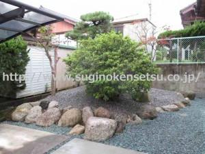 和庭の築山砂利敷き