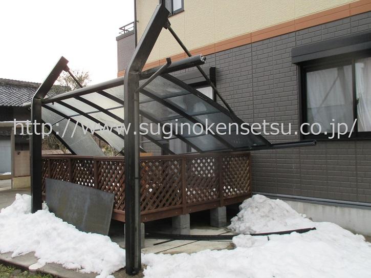 雪災害、雪被害 カーポート 補修前