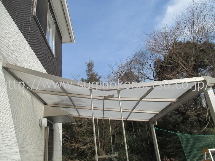 雪災害、雪被害 テラス 補修前