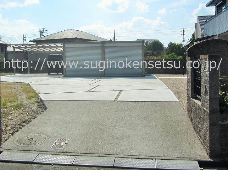土間コンクリート打設、車乗り入れ口側から