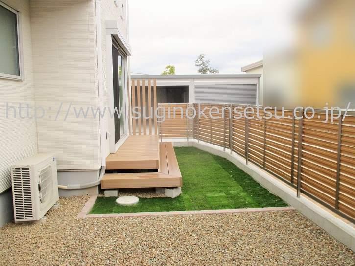 ガーデン、ウッドデッキ、人工芝