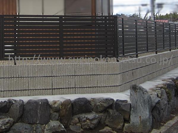 石積とブロック積の間は、モルタルで防草対策