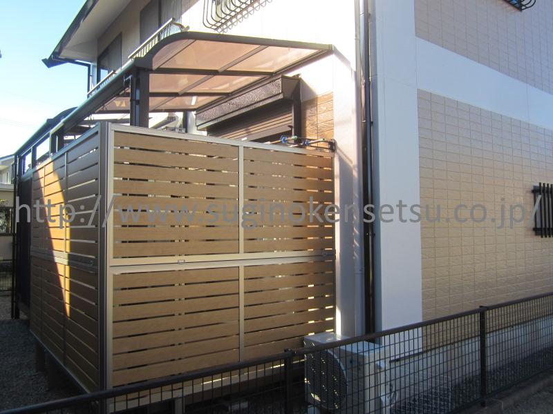 施工後 お洒落な木目調(ウッド調)フェンスです。